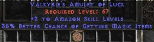 Amazon Amulet - 2 All Zon Skills & 35% MF