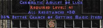 Amulet - 30 Resist All & 35% MF