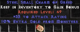 33-35 Attack Rating w/ 10% Gold Find SC