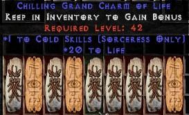 9 x Pack - Sorceress Cold Skills w/ 10-20 Life GC