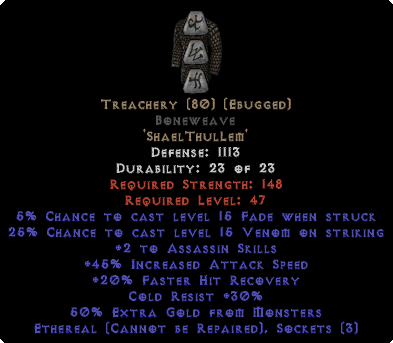 Treachery Boneweave - Eth Bugged