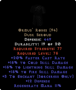 Ormus' Robes - 15% All & +3 Enchant
