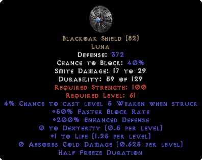 Blackoak Shield - 190-199% ED