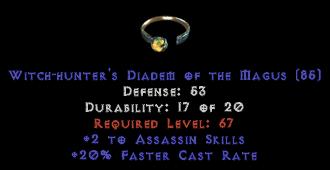 -+2 Assassin Skills/20% FCR Diadem/Tiara/Circlet - 0 Socket