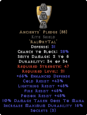 Ancients' Pledge Kite Shield - Base 15/15