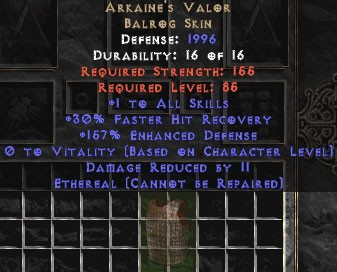 Arkaine's Valor - Ethereal - +1 All Skills