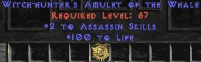 Assassin Amulet - 2 All Assn Skills & 100 Life