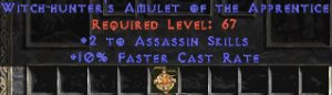 Assassin Amulet - 2 All Assn Skills & 10% FCR