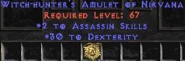 Assassin Amulet - 2 All Assn Skills & 30 Dex