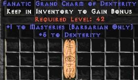 Barbarian Combat Masteries w/ 3-5 Dex GC