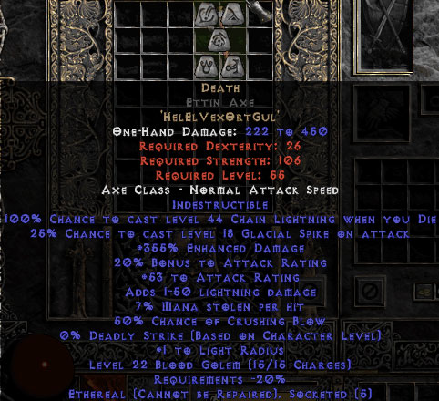Death Ettin Axe - Ethereal - 350-379% ED