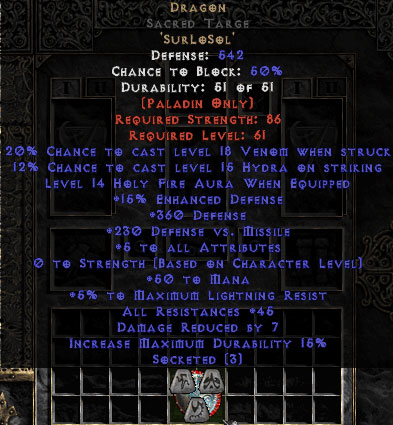 Dragon Sacred Targe - 45 Res - 5 All Stats - Perfect