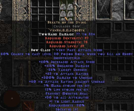 Breath of the Dying Crusader Bow - 415% ED & 12-14% LL