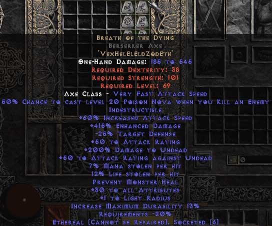 Breath of the Dying Berserker Axe - Ethereal - 415% ED & 15% LL - Perfect