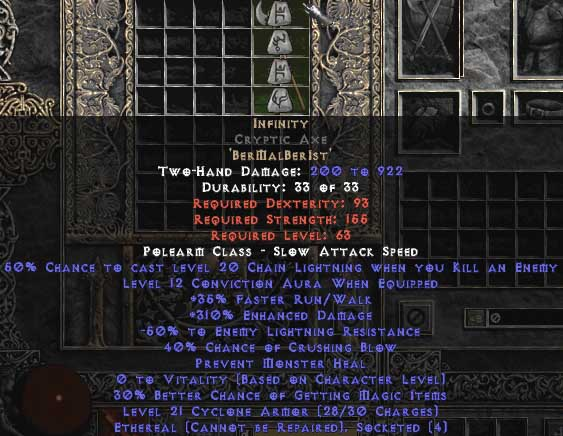 Infinity Cryptic Axe - Ethereal - 295-324% ED & -55% ELR