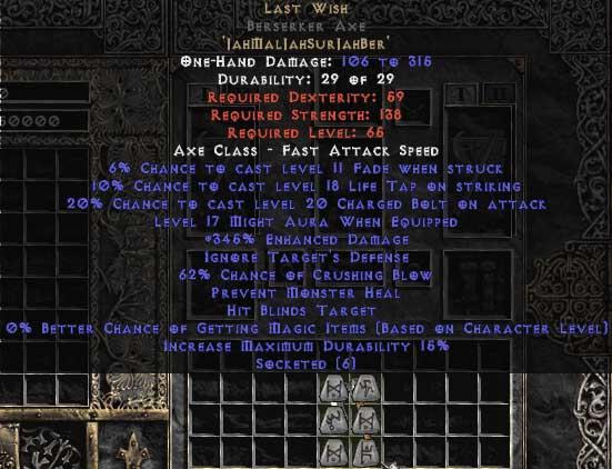 Last Wish Berserker Axe - 330-359% ED & 60-64% CB