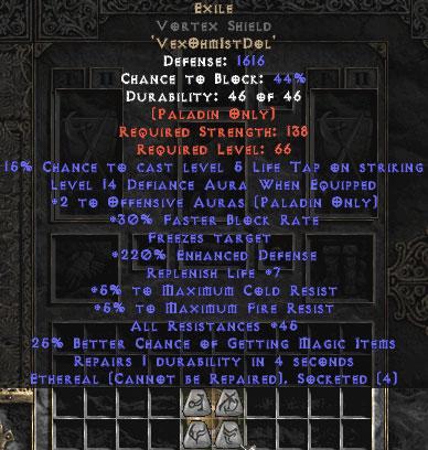 Exile Vortex Shield - Eth Bugged - 25-34 Res - 220-239% ED