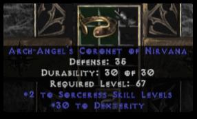 -+2 Sorceress Skills/30 Dex Diadem/Tiara/Circlet - 0 Socket