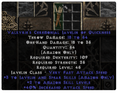 Lancer's Ceremonial Javelin of Quickness +6 - Perfect