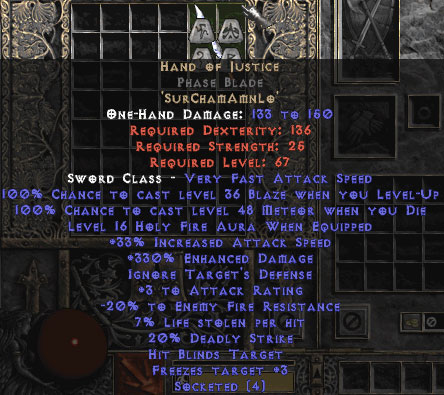 Hand of Justice Phase Blade - 330-344% ED