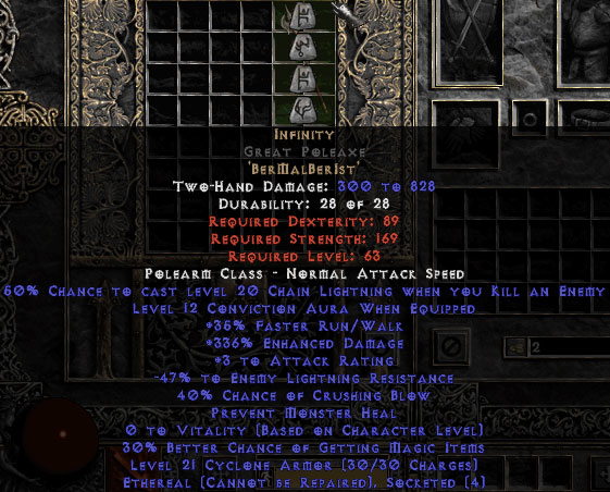 Infinity Great Poleaxe - Ethereal - 325-339% ED & -45-54% ELR - 0-14% ED Base