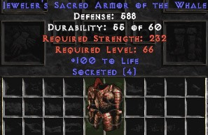 Jeweler's Sacred Armor of the Whale - 100 Life & 4 Socket