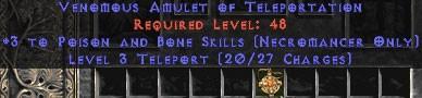 Necromancer Amulet - 3 P&B Spells & Teleport