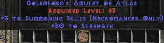 Necromancer Amulet - 3 Summoning Spells & 30 Str