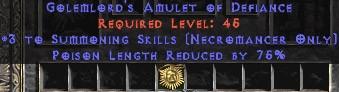 Necromancer Amulet - 3 Summoning Spells & 75% PLR