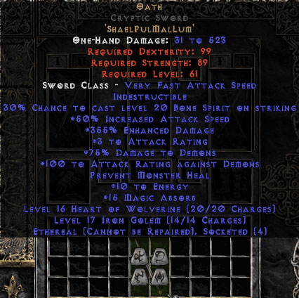 Oath Cryptic Sword - Ethereal - 355% ED & 15 MA - Perfect