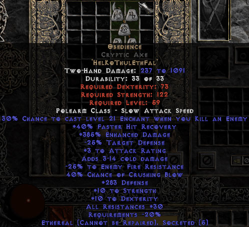 Obedience Cryptic Axe - Ethereal - 200-299 Defense & 30% All Resist