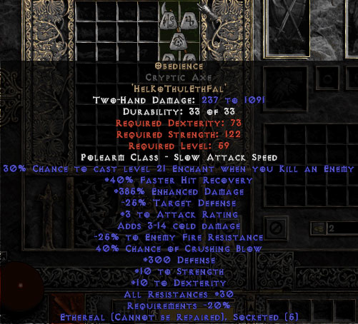 Obedience Cryptic Axe - Ethereal - 300 Defense & 30% All Resist - 15/3 Base