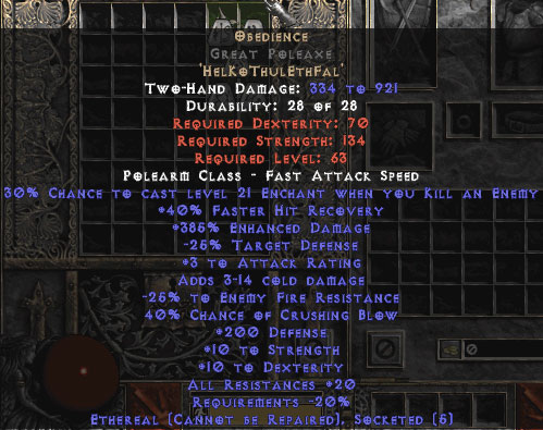 Obedience Great Poleaxe - Ethereal - 200-299 Defense & 20-29% All Resist