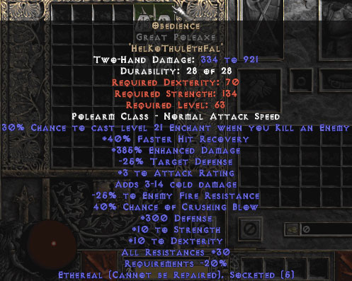 Obedience Great Poleaxe - Ethereal - 300 Defense & 30% All Resist - 15% ED Base