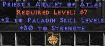 Paladin Amulet - 2 All Pal Skills & 30 Str