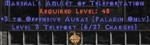 Paladin Amulet - 3 Offensive Auras & Teleport