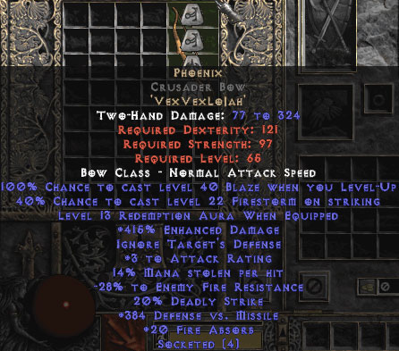 Phoenix Crusader Bow - 415% ED - 15% ED Base
