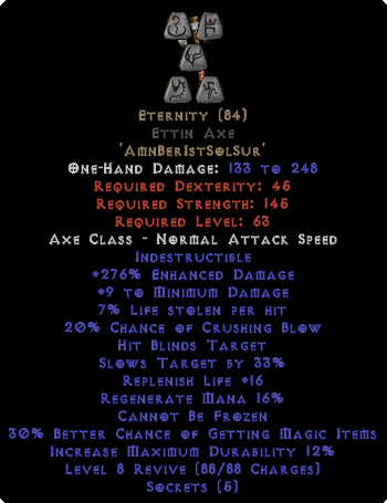Eternity - Ettin Axe - Ethereal - 260-289% ED