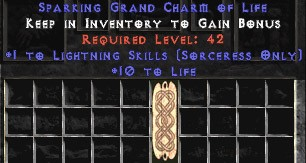 Sorceress Lightning Skills w/ 10-20 Life GC