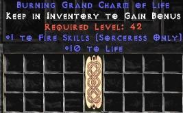 Sorceress Fire Skills w/ 10-20 Life GC