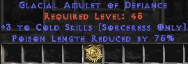Sorceress Amulet - 3 Cold Spells & 75% PLR