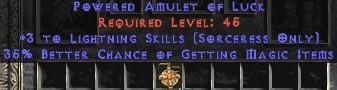 Sorceress Amulet - 3 Lightning Spells & 35% MF