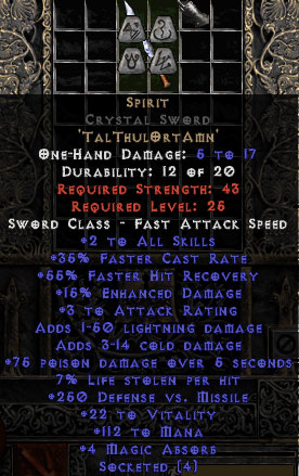 Spirit Crystal Sword - 35% FCR/112 Mana/3-7 MA - 15% ED Base