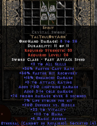 Spirit Crystal Sword - Ethereal - 35% FCR/112 Mana/8 MA - Perfect