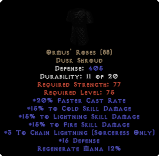 Ormus' Robes - 15% All & +3 Chain Lightning