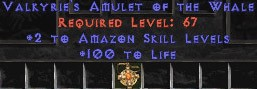 Amazon Amulet - 2 All Zon Skills & 100 Life