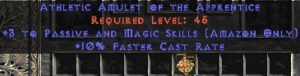 Amazon Amulet - 3 Passive/Magic Skills & 10% FCR