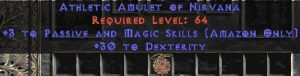 Amazon Amulet - 3 Passive/Magic Skills & 30 Dex