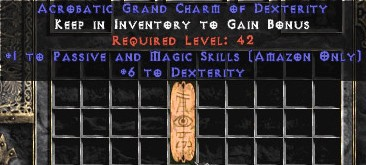 Amazon Passive & Magic Skills w/ 6 Dex GC