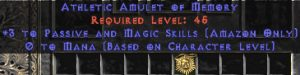 Amazon Amulet - 3 Passive/Magic Skills & 0.75 MPL